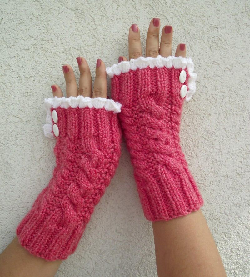 KNITTING PATTERN Mittens with Lace Fingerless Gloves ...