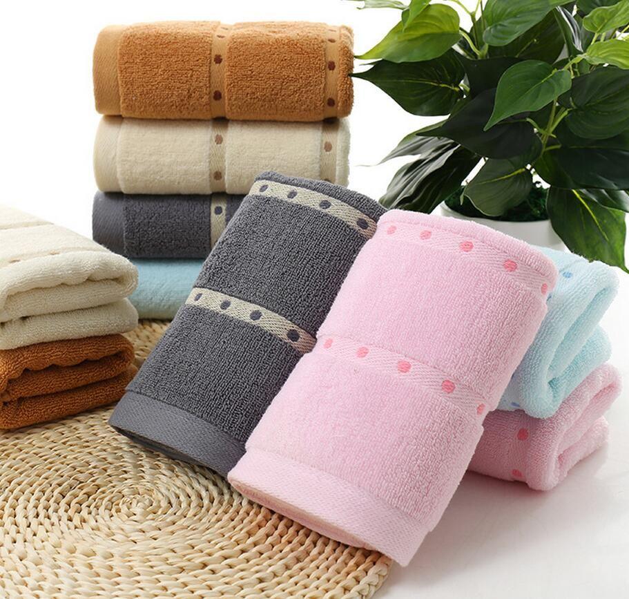 Plaid cotton face hand bath towel shares with a dot cotton
