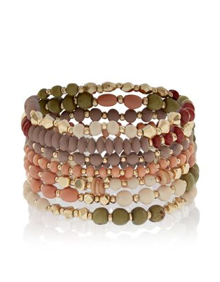 These stretchy bracelets are set to become your favourites for casual styling. Fashioned with colourful beads and gold-tone accents, our Savannah bracelet se...
