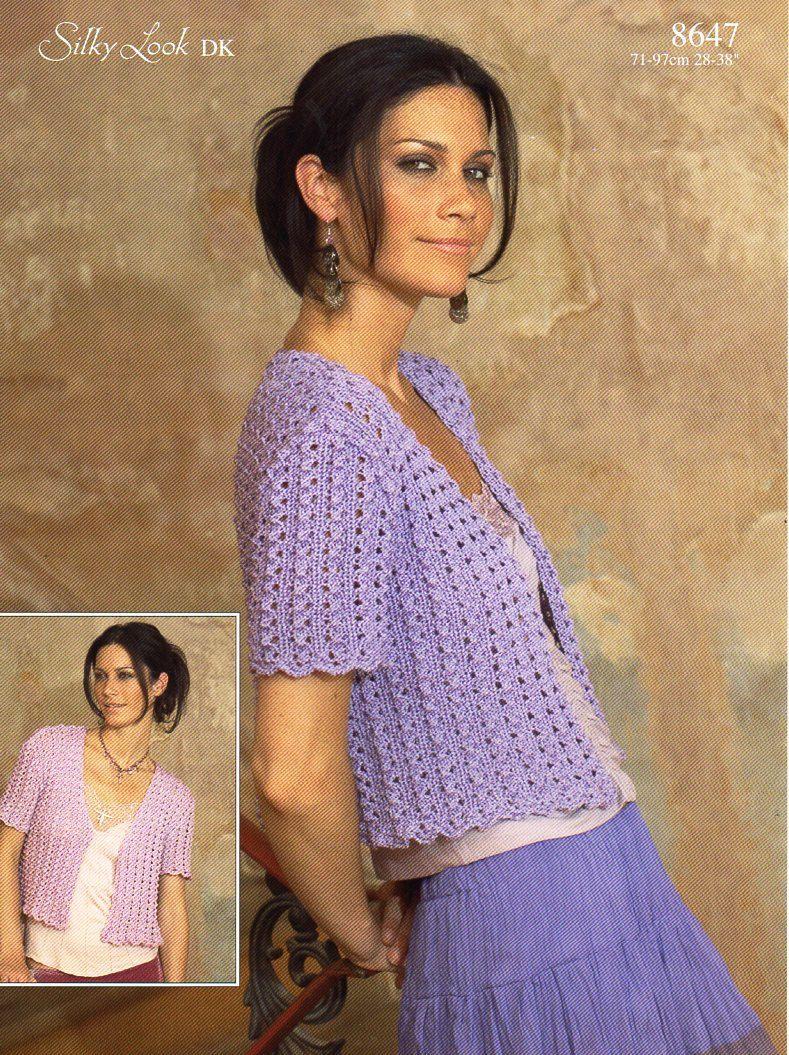 womens lacy short sleeve cardigan knitting pattern PDF DK ladies ...