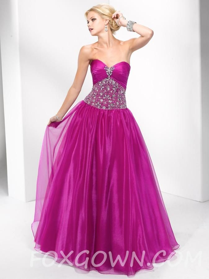 dazzling beaded organza strapless ball gown prom dress | For my two ...