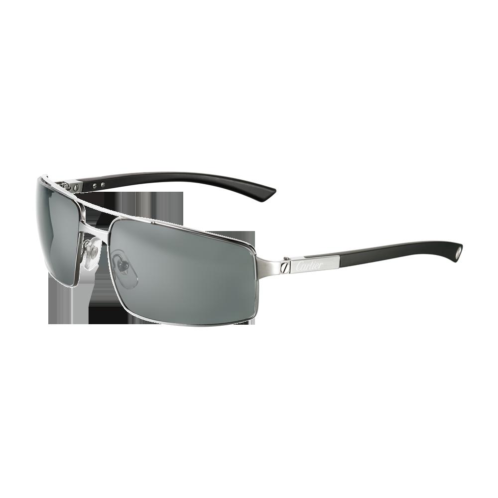 Santos de Cartier rimmed sunglasses - Ruthenium finish, metal, grey ...