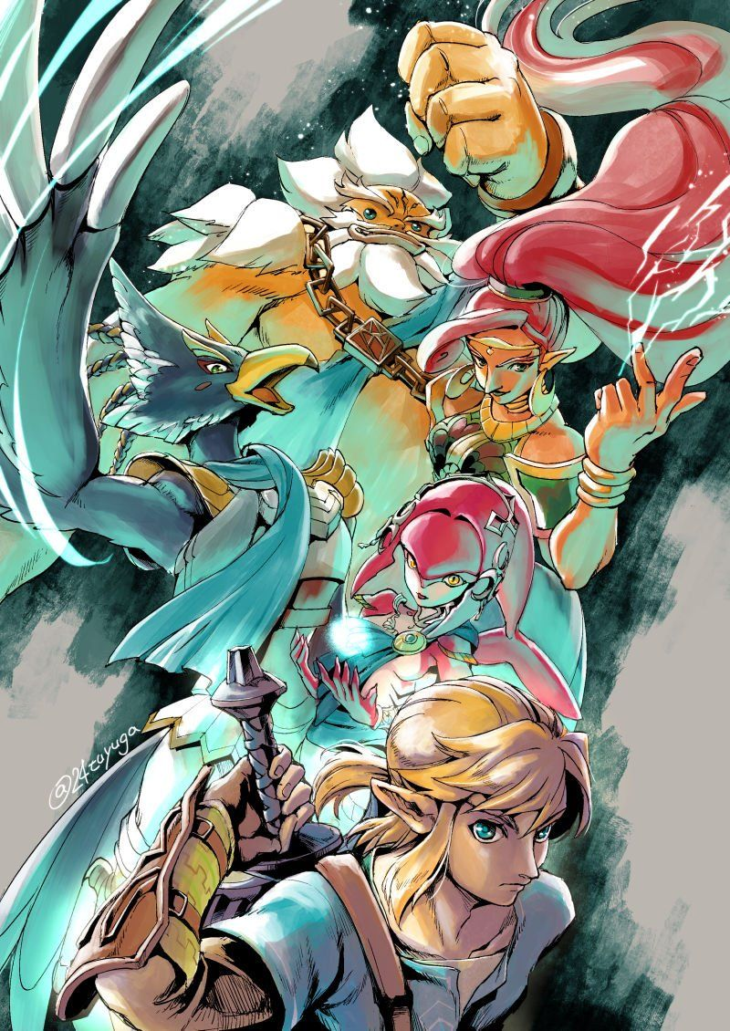 Legend Of Zelda Breath Of The Wild Art Link And The Champions Daruk Urbosa Mipha Revali Arte De Videojuegos Imagenes De Zelda Tloz Botw