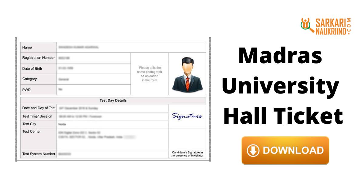 Madras University Hall Ticket 2020 Download Ug And Pg Hall Ticket University Hall University University Result