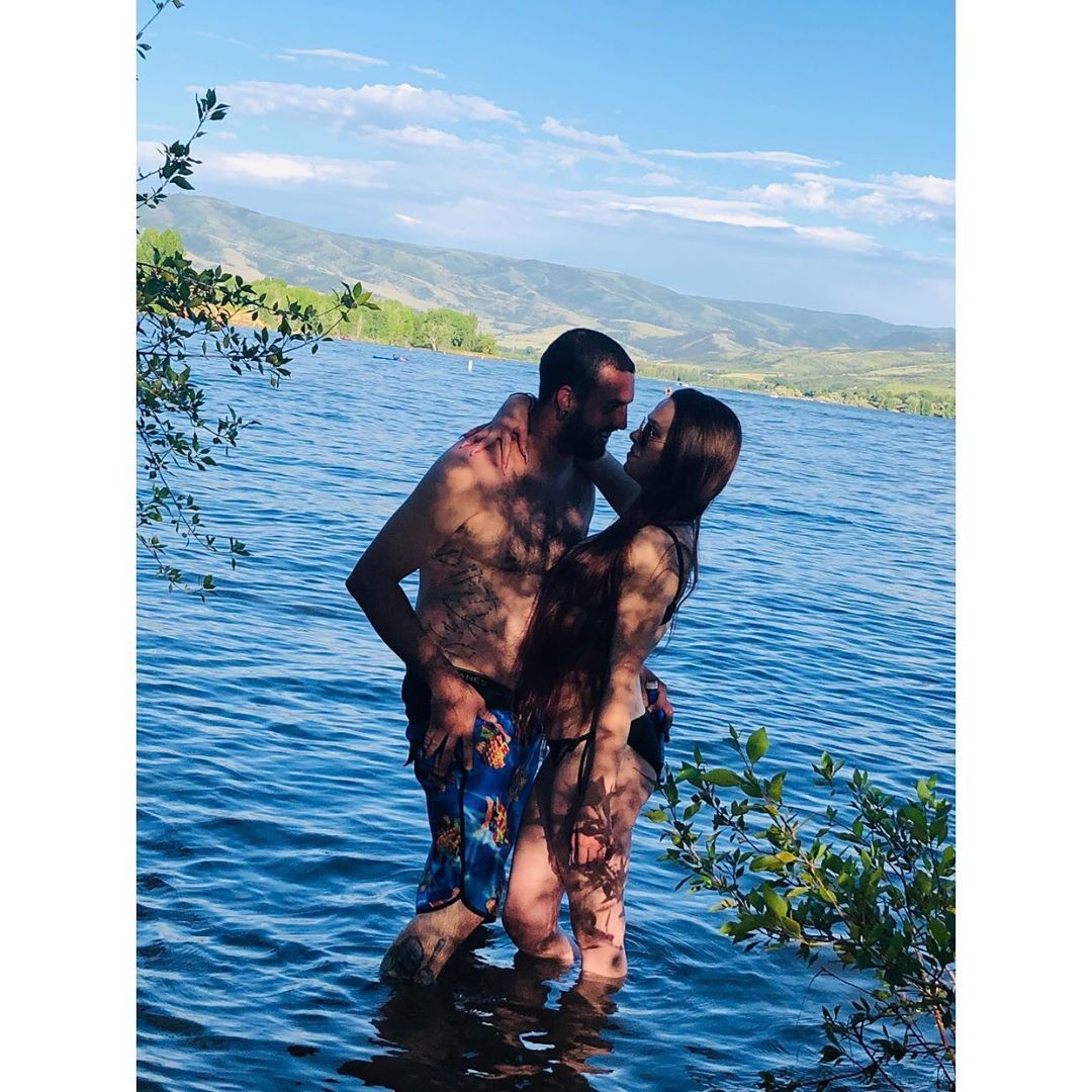 "Haylee on Instagram: ""Love Of My Life 🌊♥️👅 • • • #loml #lakeday #pineview #swimsuit #swim #swimming #love #guyswithtattoos #beardedmen #menwithbeards…"""