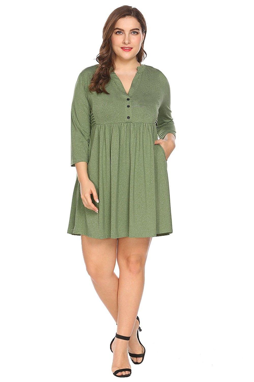 Womenus casual long sleeve v neck swing dresses loose tshirt