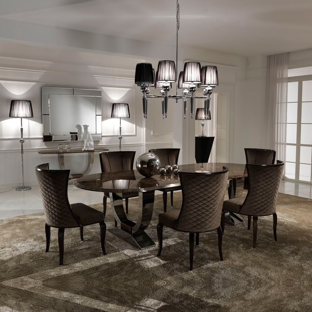 Luxury Italian Brown Marble Oval Dining Set Luxury Dining Room
