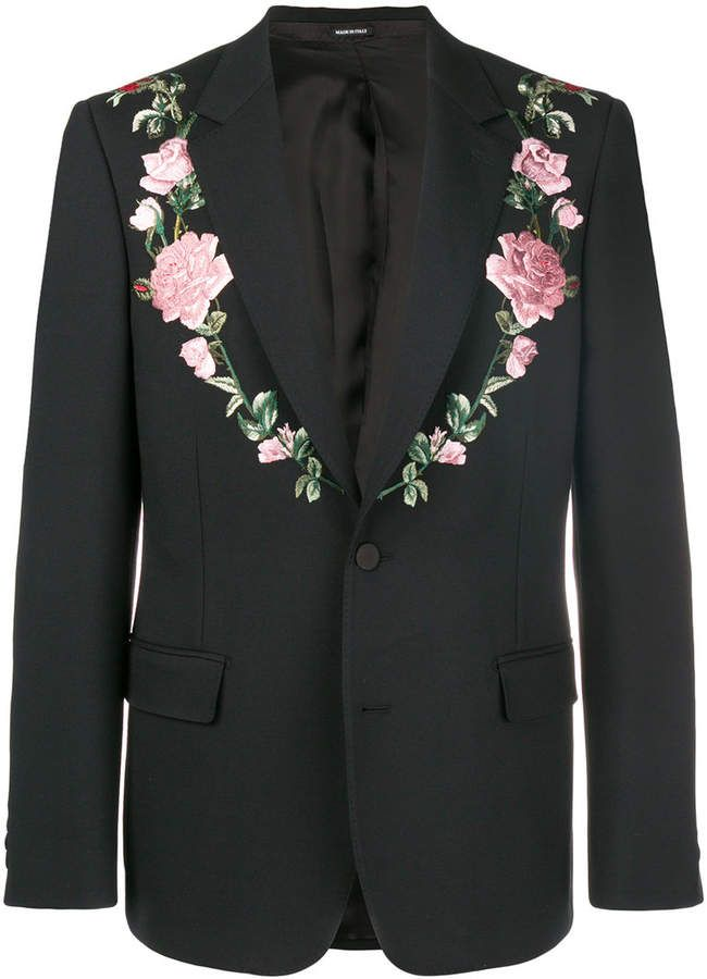 0b362478ed2 Alexander McQueen floral embroidered suit jacket