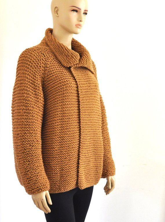 Brown Oversize Cardigan Knit Wool Women Cardigan Long Loose Fit