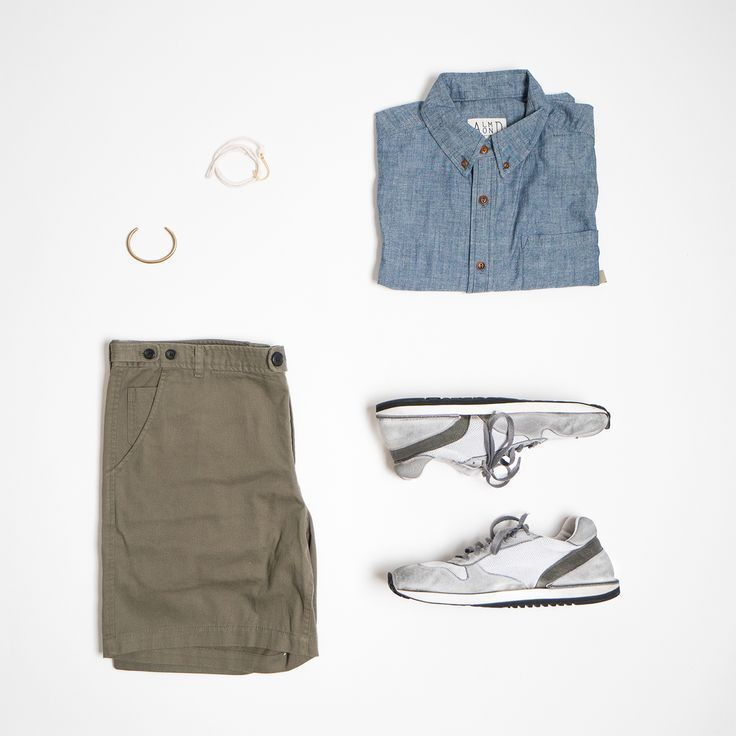 Cargo shorts and chambray short sleeve outfit grid shop