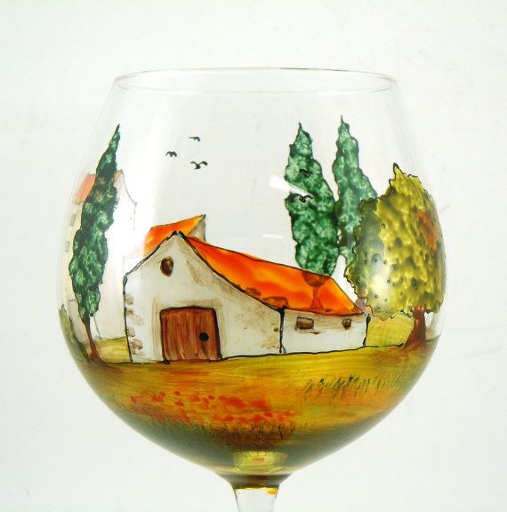 Hand painted glasses Set of 2 red wine por CreationsdeFlorence