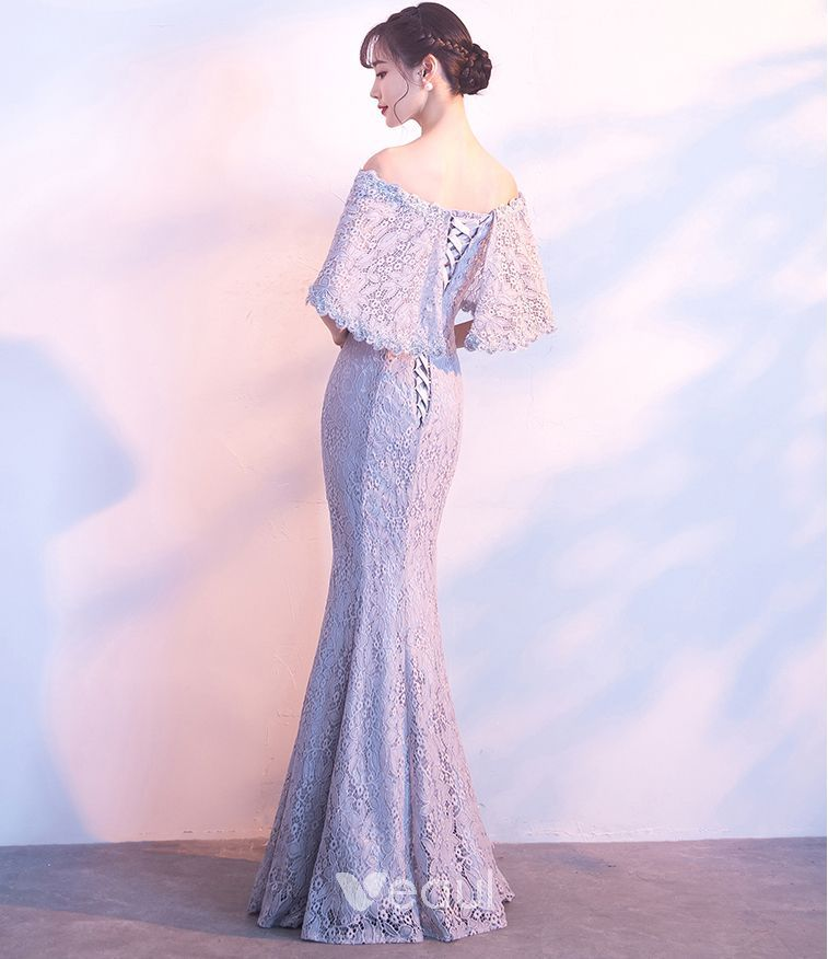 31ffb05d7ce Chic   Beautiful Grey Evening Dresses 2018 Trumpet   Mermaid Lace Flower Off -The-Shoulder Backless 1 2 Sleeves Floor-Length   Long Formal Dresses