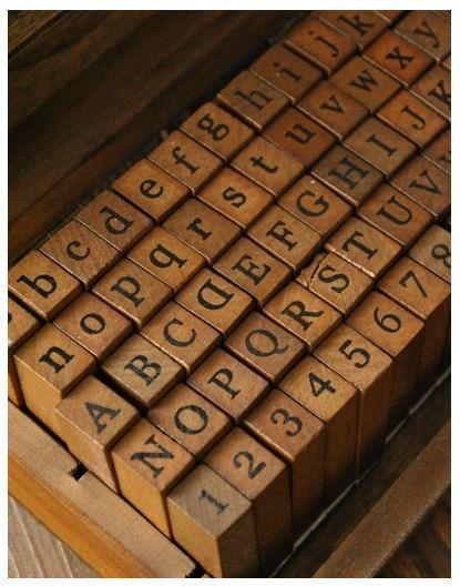 Wooden Rubber Stamp Set - Alphabet Stamp Set - Vintage Stamps ...