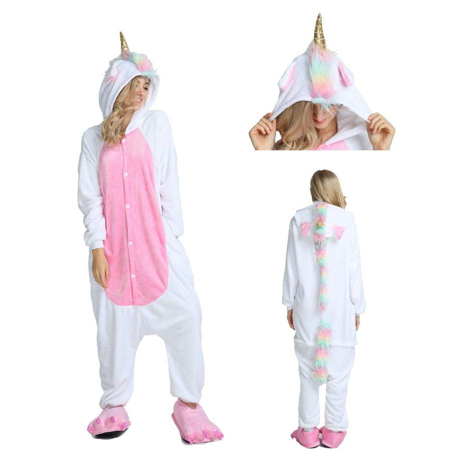 f3468fb9b1 New Unisex Adult Pajamas Unicorn Kigurumi Cosplay Costume Animal Sleepwear   Pajamas Unicorn Unisex