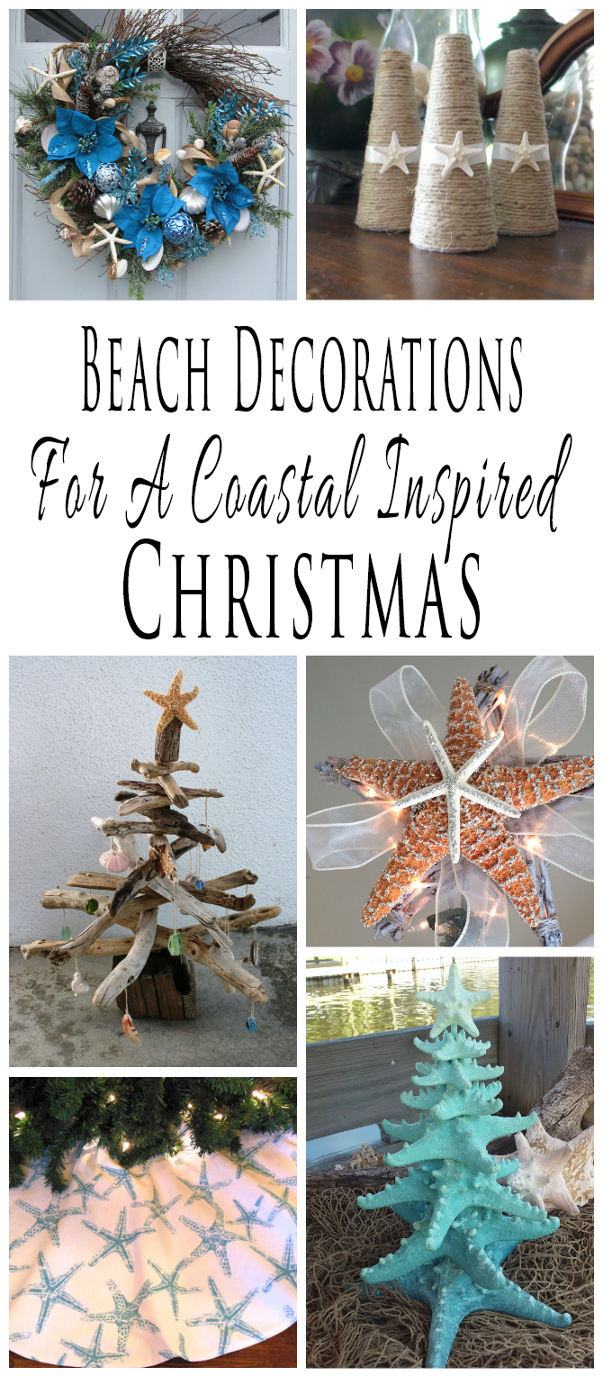 handmade beach themed christmas decorations and decor for a coastal inspired christmas