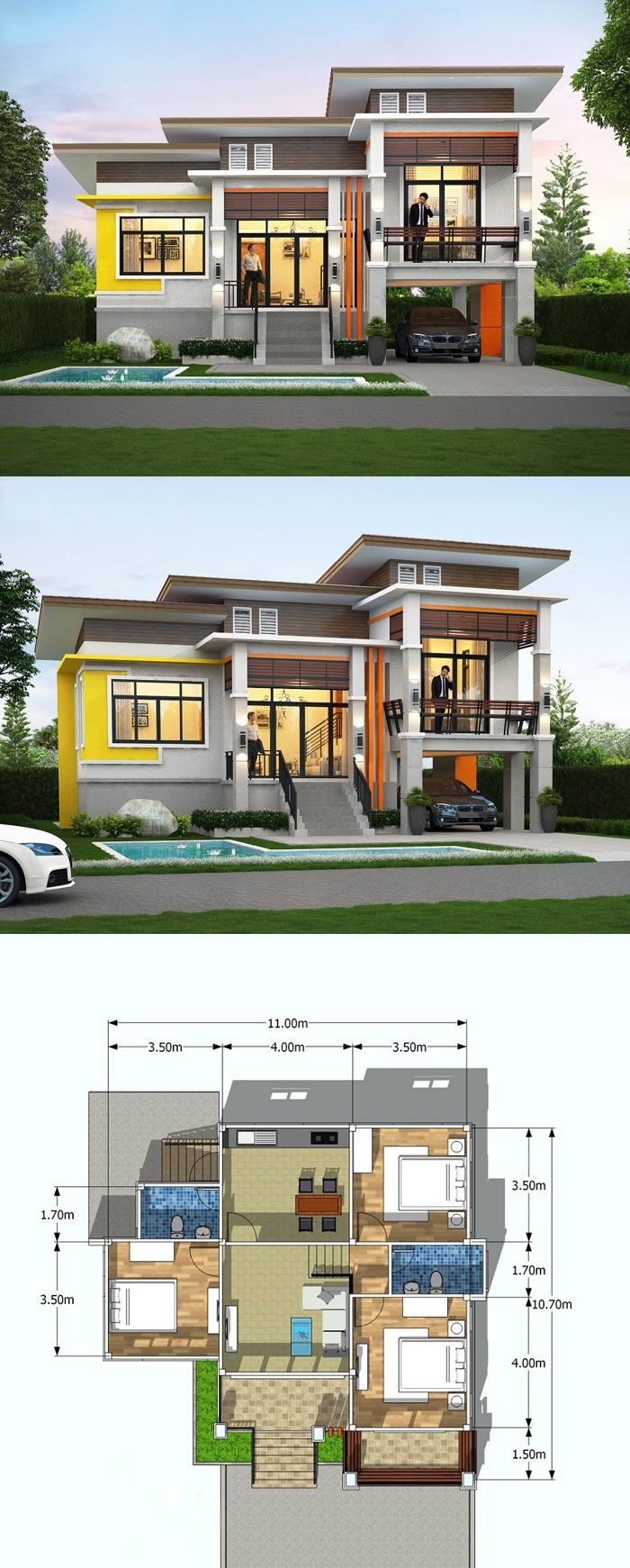One And A Half Storey House Floor Plan With 3 Bedrooms Philippines House Design Two Story House Design One Storey House