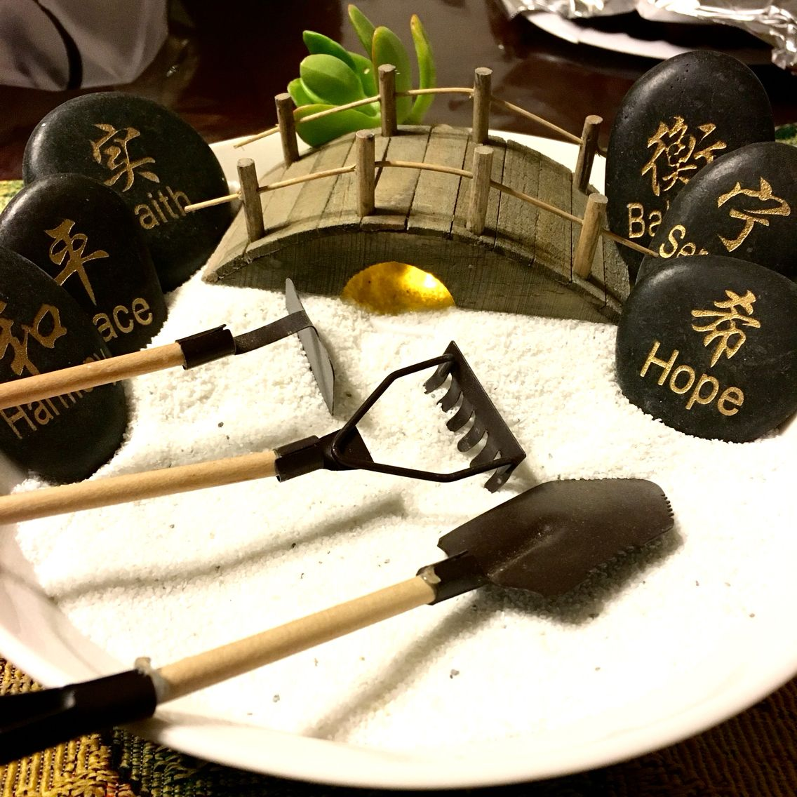DIY Desk top Mini Zen garden Sand and bowl from the dollar
