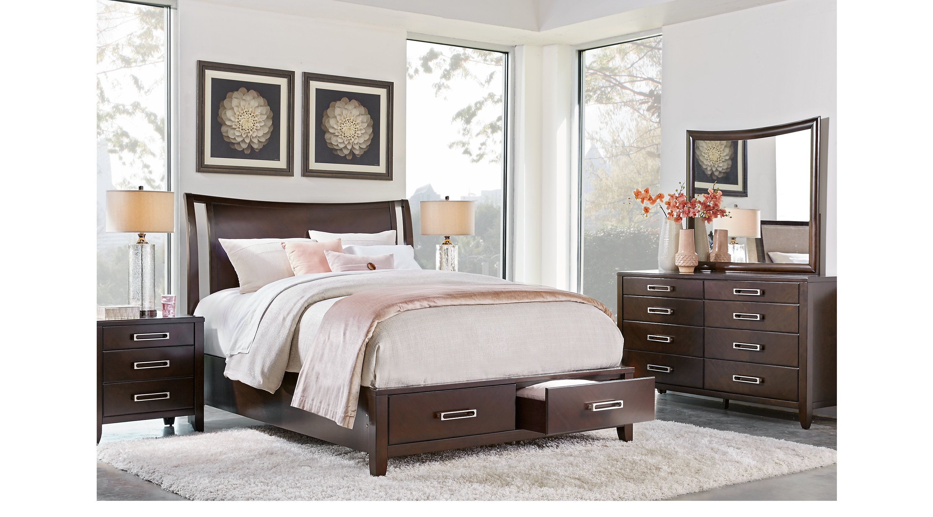 Bellissimo Java 5 Pc Queen Sleigh Bedroom with Storage ...