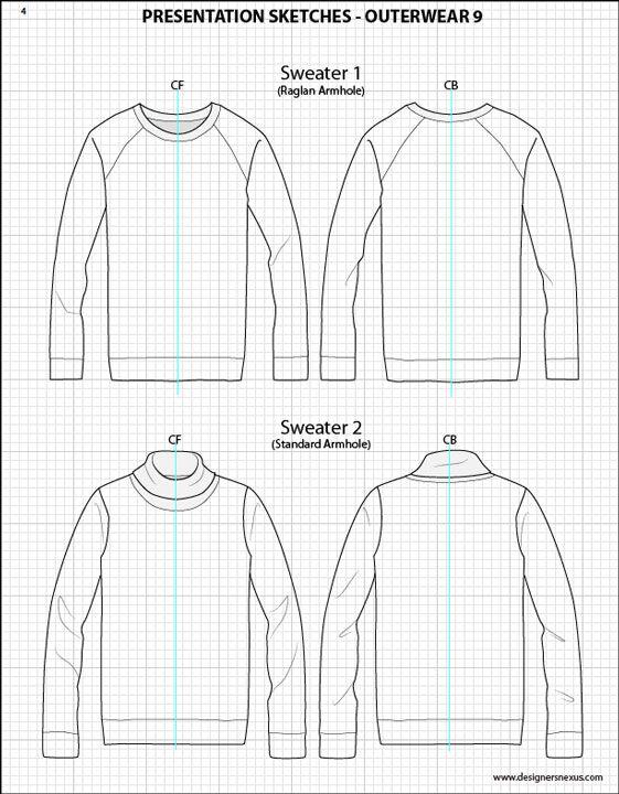 Mens Illustrator Flat Fashion Sketch Templates - Presentation Sketches Sweaters - 1045+ mix & match Menswear design templates