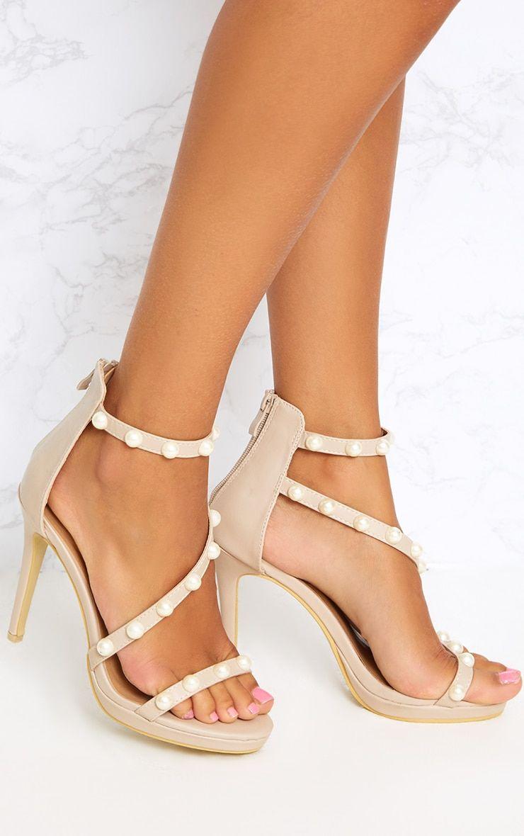 0861f546f6 Nude Pearl Triple Strap Heels | Παπούτσια | Strap heels, Heels, Shoes