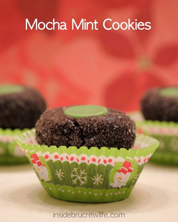 Mocha Mint Cookies - chocolate mocha cookies topped with a fudge mint candy