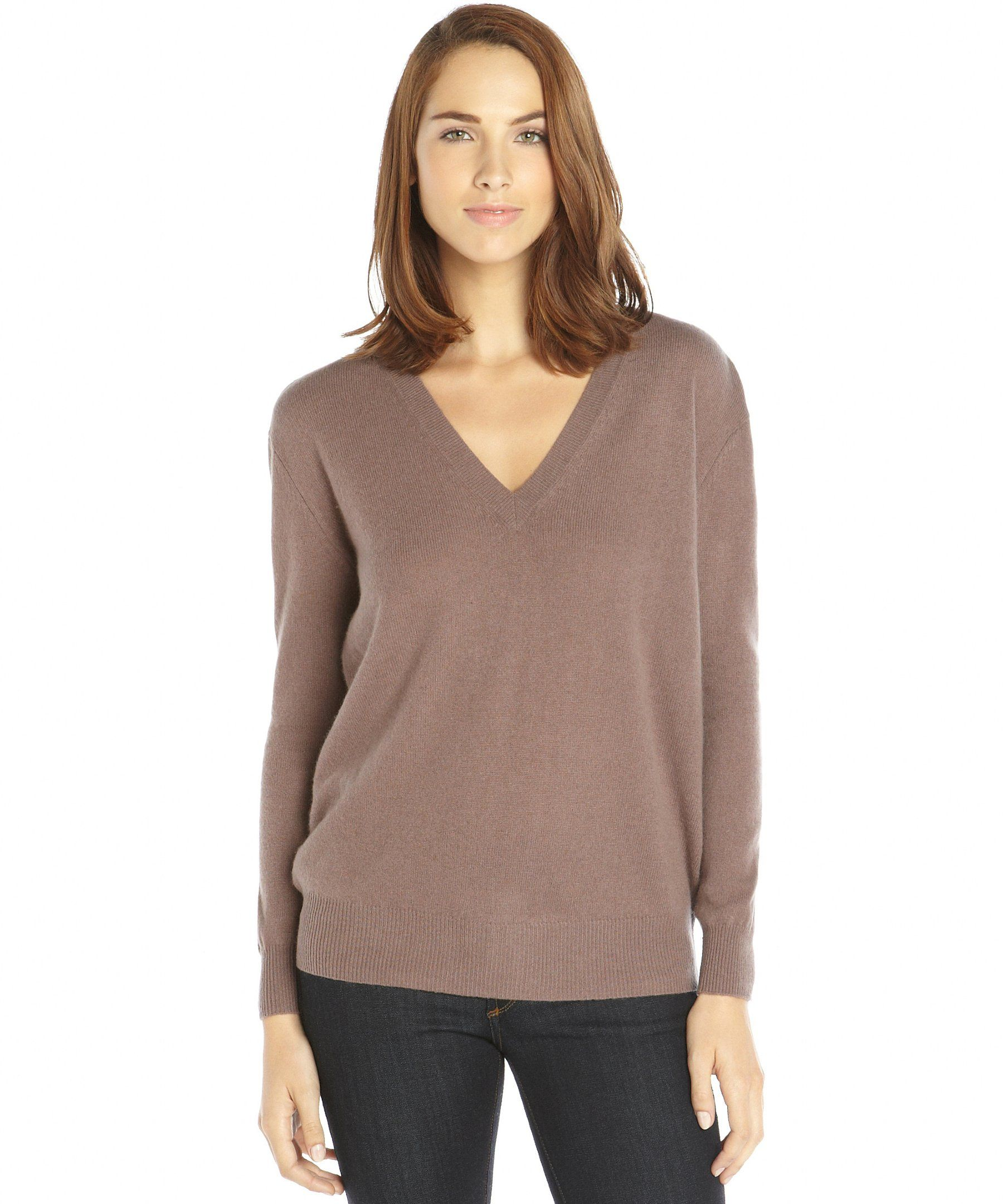 Autumn Cashmere soba brown v-neck boyfriend cashmere sweater ...