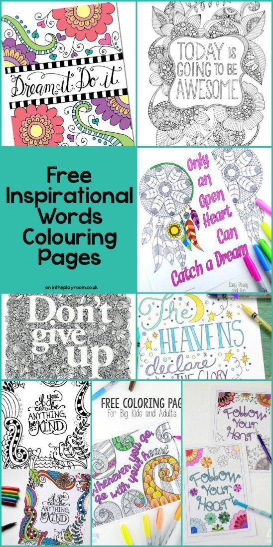 Inspirational Words Grown Up Colouring Pages | Inspirational