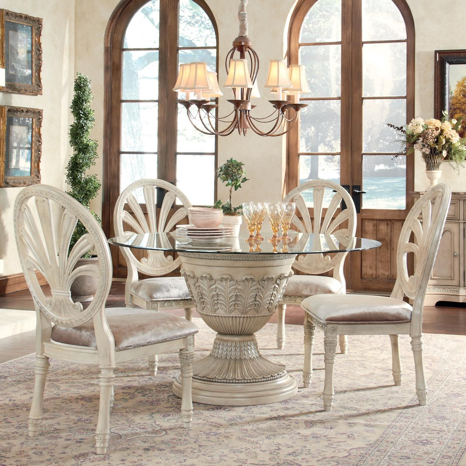 Ortanique 5 Piece Glass Top Table Set By Ashley Millennium Available