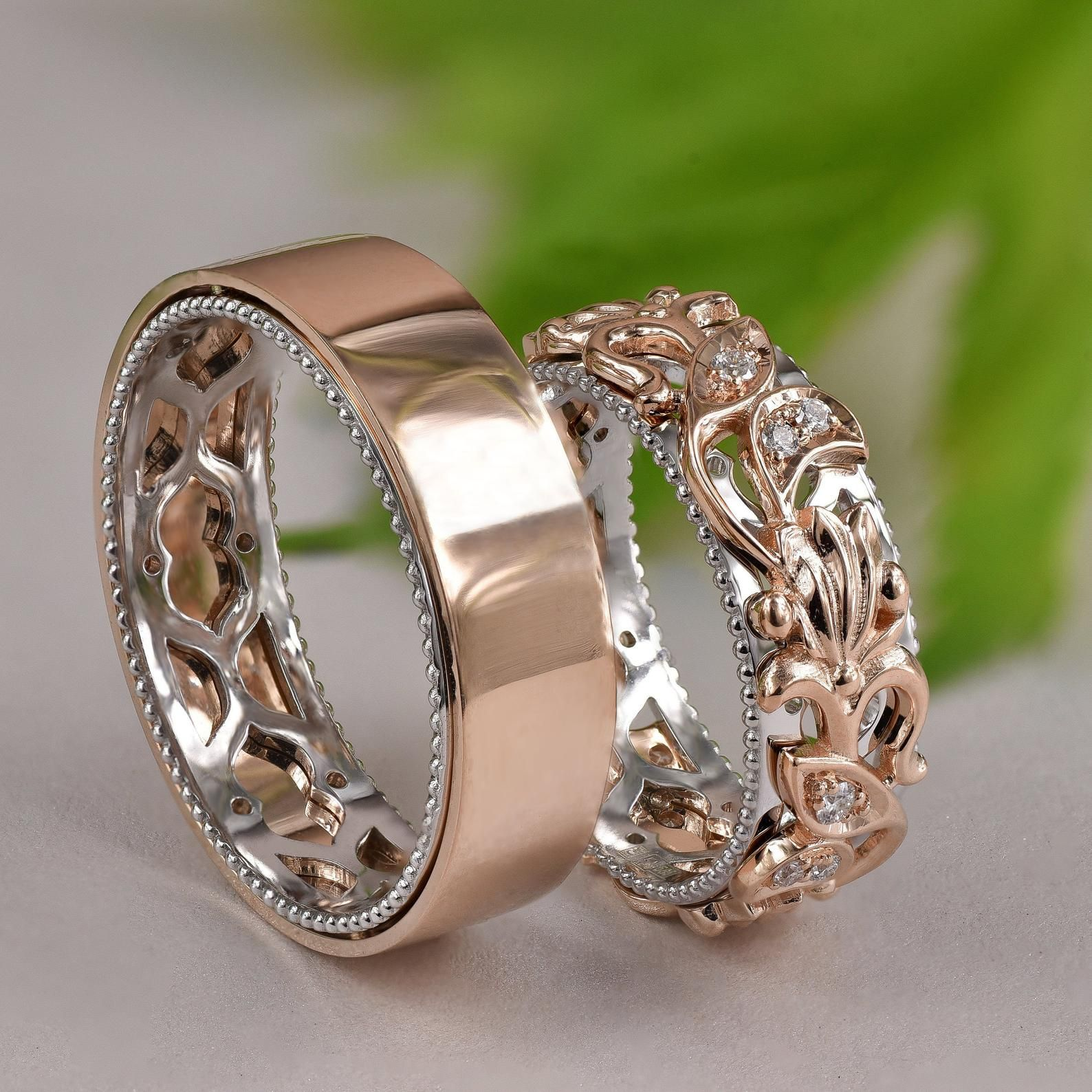 Matching Wedding Bands, Wedding Band Set His and Hers, His