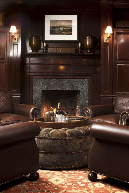 One Of The Offices In The Fortress Dark Paneling Leather Chairs Home Interior Design Interior