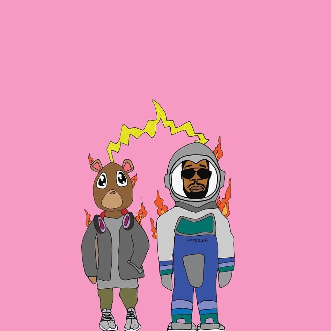 Kanye West Kid Cudi Grad Bear Man On The Moon Kid Cudi Wallpaper Cartoon Art Styles Hip Hop Art