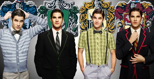 Darren In Each House This Just Combined Two Of My Favorite Things Glee And Harry Potter Darren Criss Starkid Favorite Celebrities