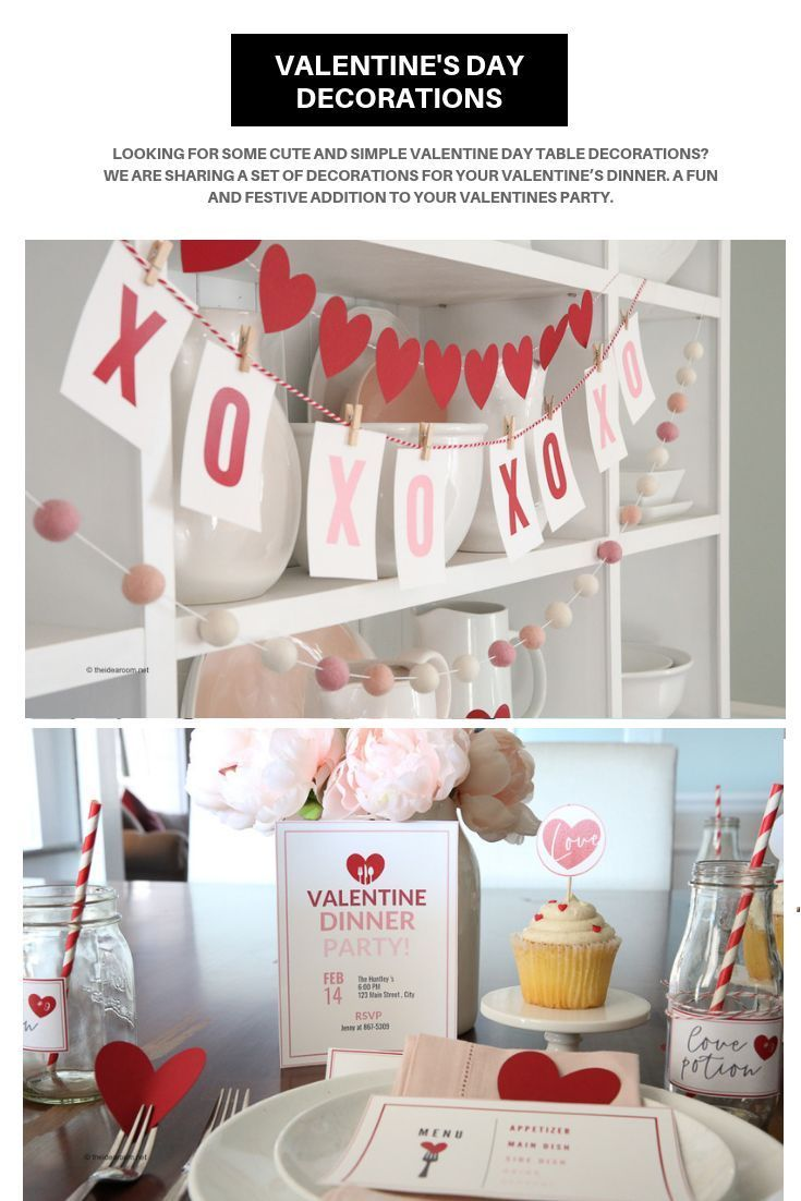 Looking for some cute and simple Valentine Day Table Decorations? We are sharing a set of decorations for your Valentine's Dinner. A fun and festive addition to your Valentines Party.  #valentinesday #valentinedecor #valentinesdaydecor #valentinedinner #valentinesdaytable #valentinesdayprintables #valentinesdaybanner