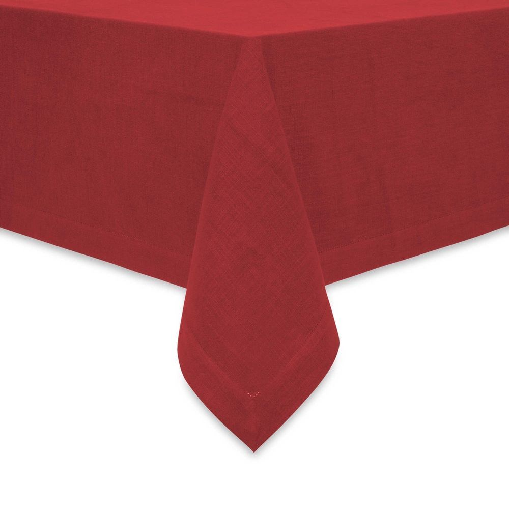 Fete rustic red hemstitched detail bufett tablecloth 100
