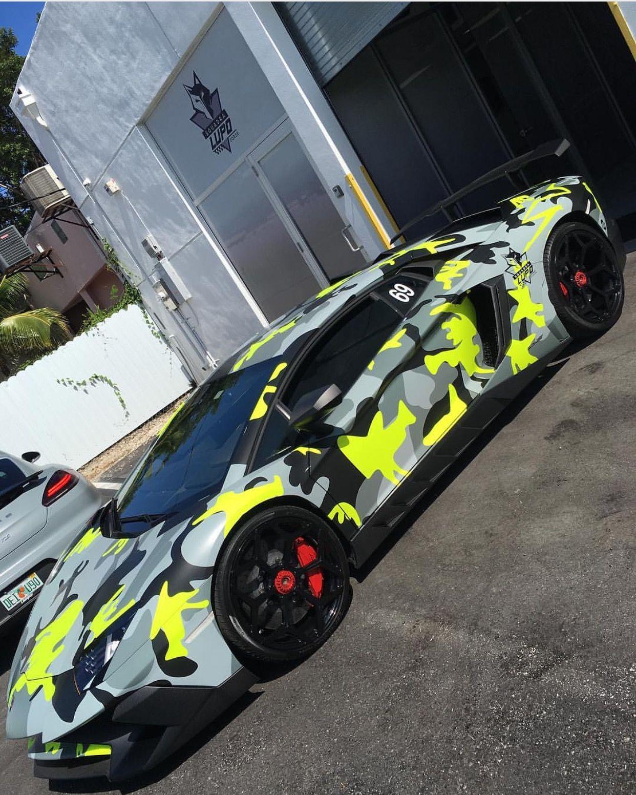 Lamborghini Aventador Super Veloce Coupe Painted In Giallo Orion And  Wrapped In Camo W/ A