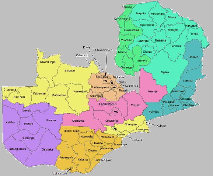 Map Of Zambia Showing Provinces.Map Of Zambia Provinces Google Search Maps Map Fun