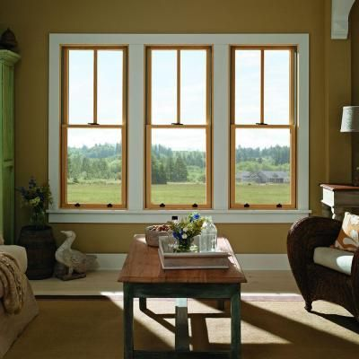 Andersen 37 625 In X 56 875 In 400 Series Tilt Wash Double Hung Wood Window With White Exterior 9117172 The Home Depot Wood Windows Farm House Colors Exterior House Colors