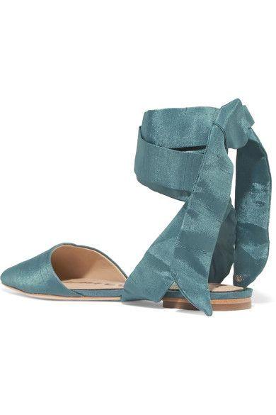 a9eb8ba06 Sam Edelman - Brandie Dupion Point-toe Flats - Blue