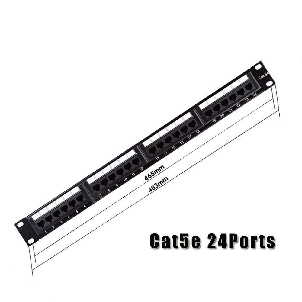 Cat5e Utp 24port Rj45 Network Cable Patch Panel 1u 19 Inch Gold Wiring Plated With Keystone Jacks Rack