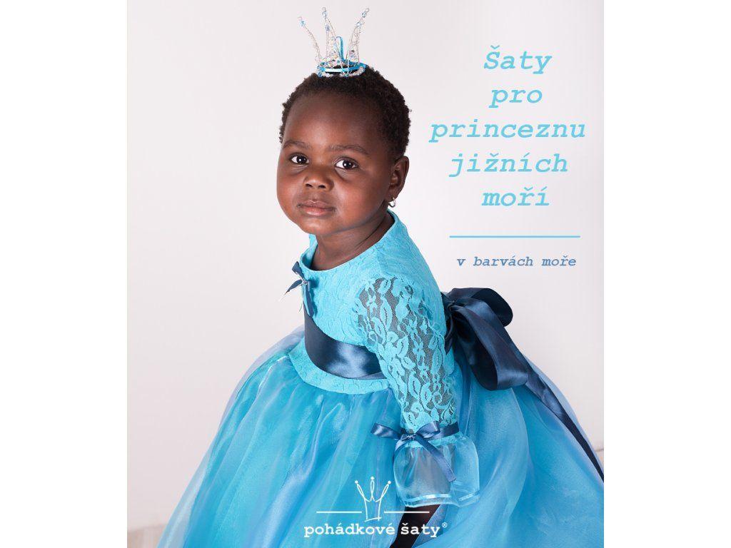 f0c99e9336c9 Dětské modré princeznovské šaty pro princeznu jižních moří. Cena od 3 439Kč.
