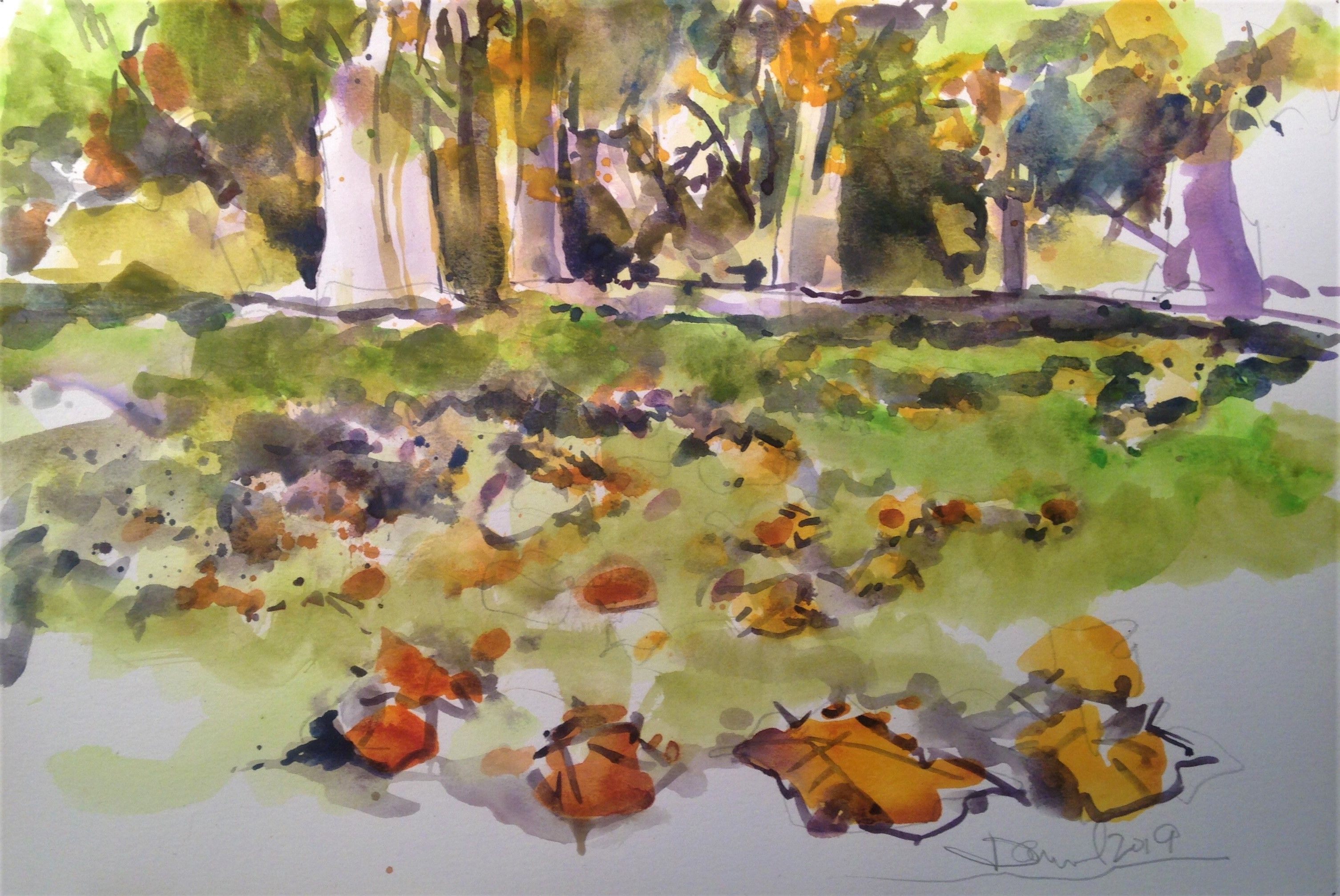 Medium Original Impressionist Painting Watercolor On