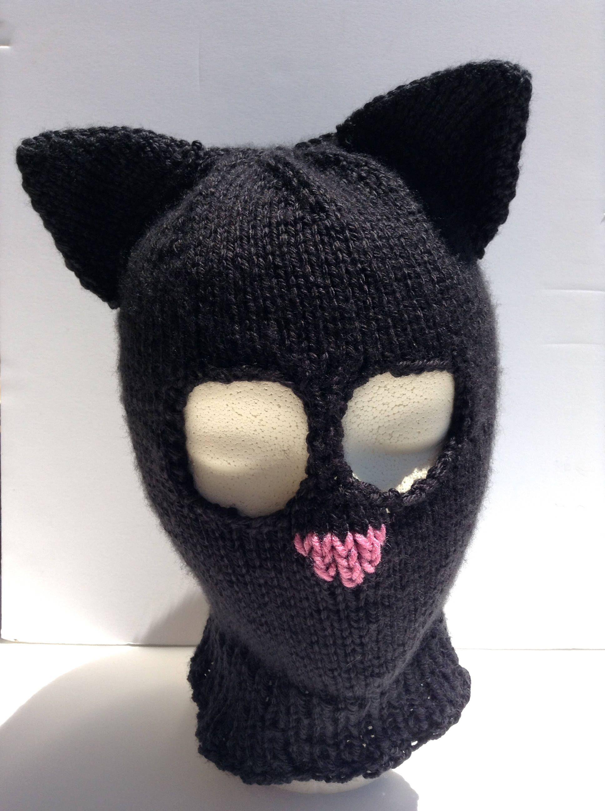 Cat Ears Ski mask Halloween costume by Archaeopterknits