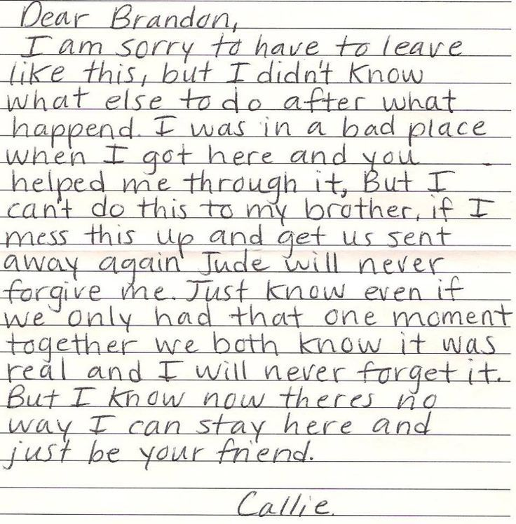 callies goodbye letter to brandon brandon and callie the fosters
