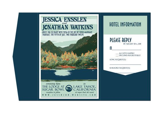Gazebo Wedding Invitations: Vintage Lake Tahoe Wedding Invitation Pocket Fold And