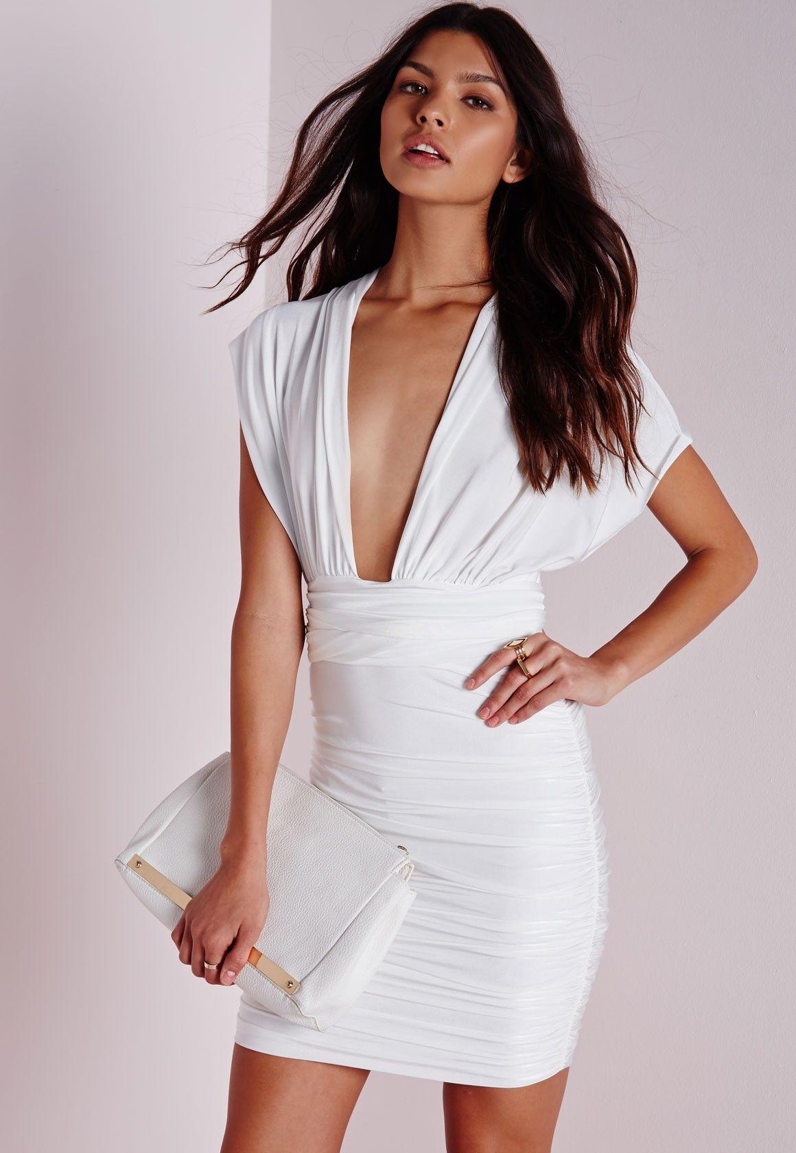 f34617f68c Missguided - Do It Any Way Multiway Slinky Bodycon Dress White ...