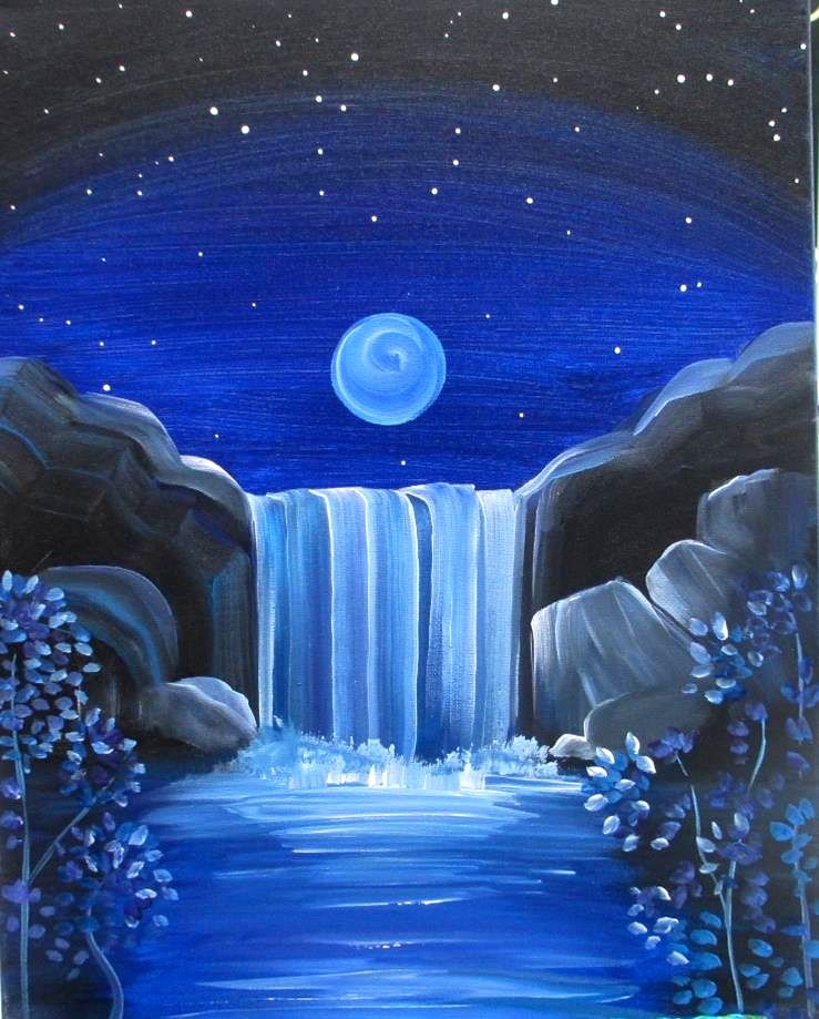 Moonlit Falls Easy Canvas Painting Canvas Painting Waterfall Paintings