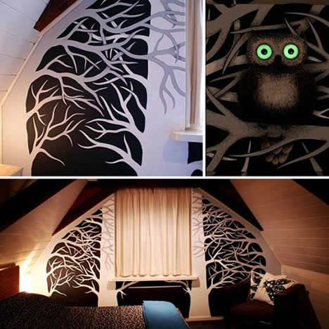 Mural With Owls And Their Glow In The Dark Eyes Using Glow In The Dark Paint Part 46