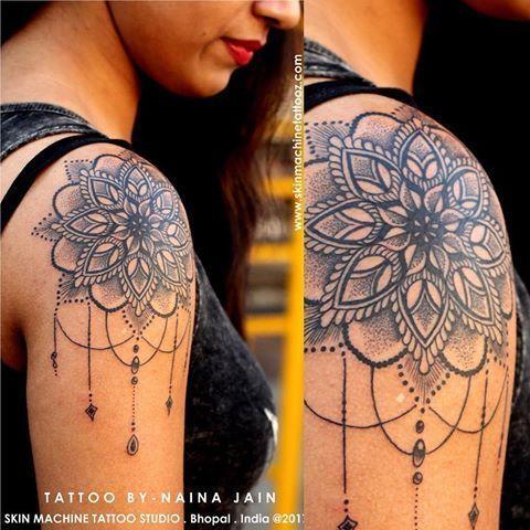 Flower Mandala Shoulder Cap Tattoo