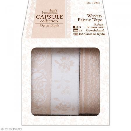 Fabric tape tissu - Oyster blush - Assortiment 3 rouleaux de 1 mètre - Masking tape tissu - Creavea #fabrictape