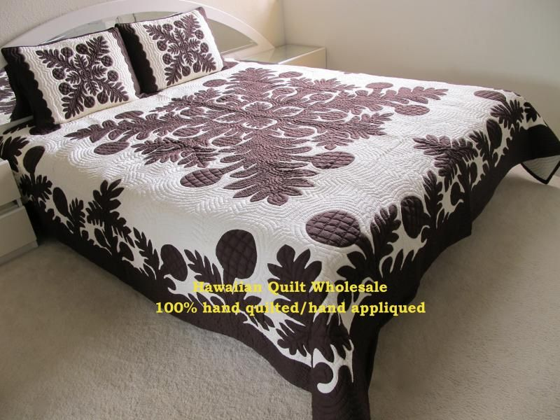 My Hawaiian quilt arrived today; looks great in a mocha brown on ivory background.